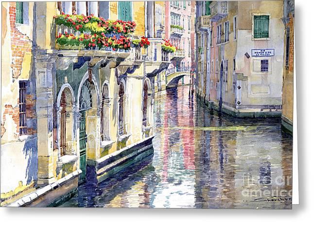 Italy Venice Midday Greeting Card by Yuriy Shevchuk