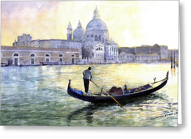 City Scenes Paintings Greeting Cards - Italy Venice Morning Greeting Card by Yuriy Shevchuk