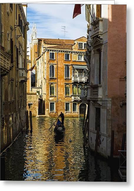 Solitariness Greeting Cards - Italy, Venice, Rowing Gondola Greeting Card by Richard Desmarais