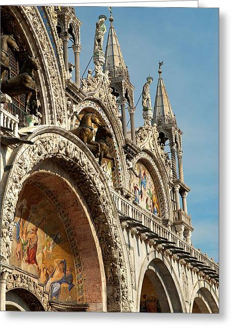 Italy, Venice Saint Mark's Basilica Greeting Card by David Noyes