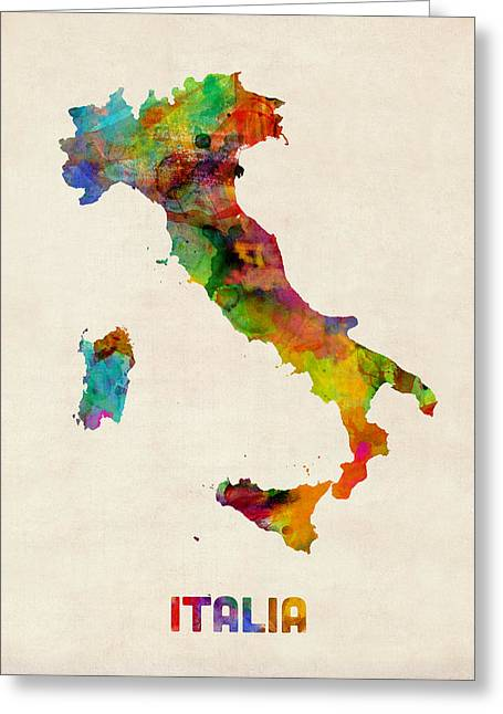 Italy Watercolor Map Italia Greeting Card by Michael Tompsett