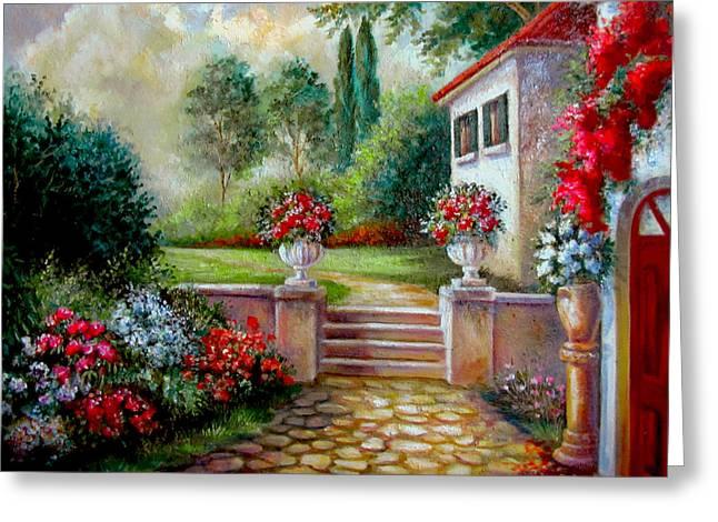 Summer Scene Greeting Cards - Italyan Villa with garden  Greeting Card by Gina Femrite