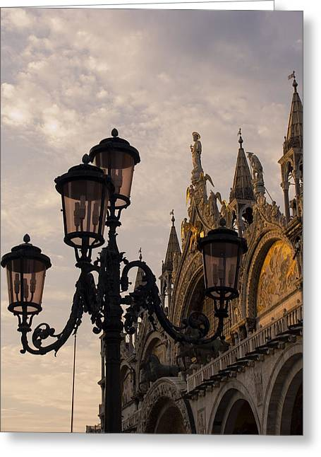 Streetlight Greeting Cards - Italy,venice, Basilca San Marco Detail Greeting Card by Tips Images
