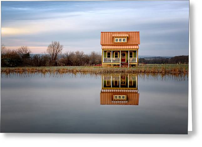 Lake House Greeting Cards - Ithaca Cottage Reflection Greeting Card by Steven  Michael