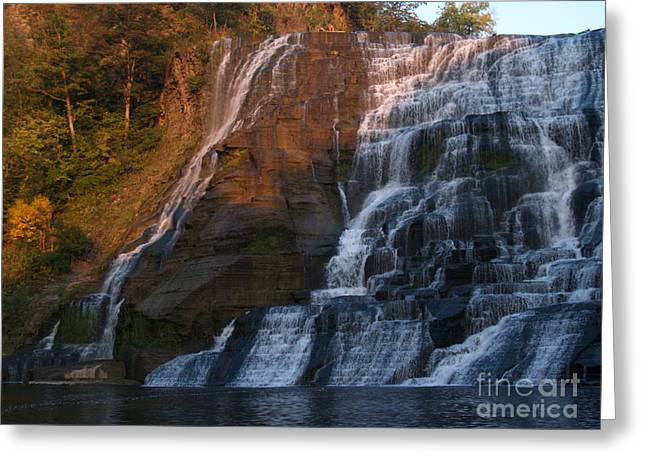 Ithaca Greeting Cards - Ithaca Falls  --  Late Afternoon Greeting Card by Anna Lisa Yoder