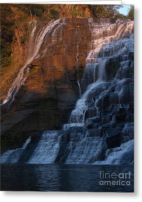 Finger Lakes Greeting Cards - Ithaca Falls in Autumn Greeting Card by Anna Lisa Yoder