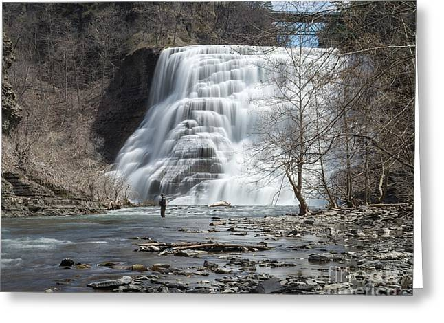 Ithaca Greeting Cards - Ithaca Falls In The Spring Greeting Card by John Naegely