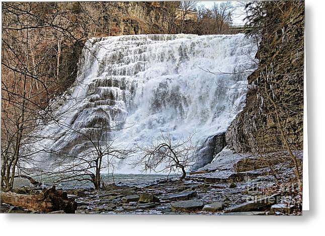 Ithaca Greeting Cards - Ithaca Falls in Winter Greeting Card by Kerry Gergen