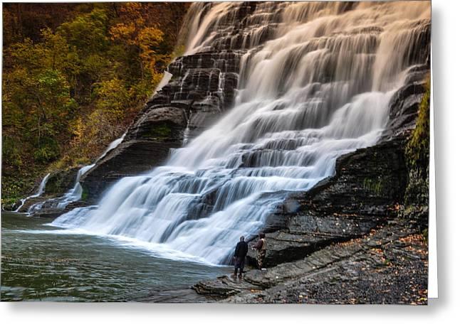 Ithaca Greeting Cards - Ithaca Falls Greeting Card by Karen Regan