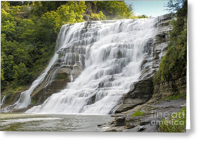 Brook Pyrography Greeting Cards - Ithaca Falls Greeting Card by Rebecca Brooks