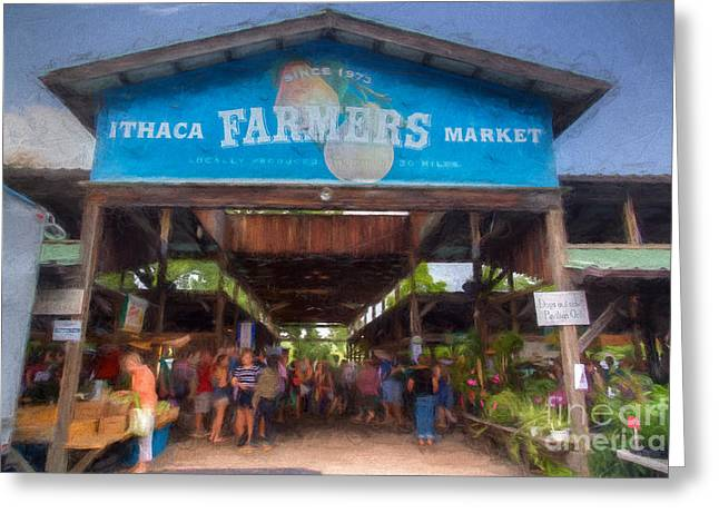 Ithaca Farmer's Market Greeting Card by Michele Steffey