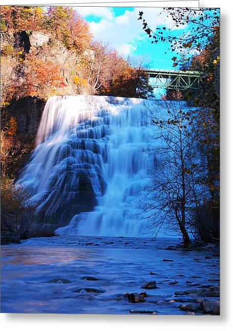Ithaca Greeting Cards - Ithaca water falls New York Panoramic photography Greeting Card by Paul Ge