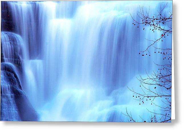 Nature Scene Digital Art Greeting Cards - Ithaca Water Falls New York  Greeting Card by Paul Ge