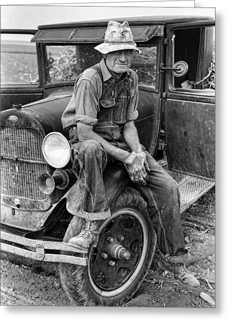 Fortitude Greeting Cards - Itinerant Kansas Farmhand  1935  Greeting Card by Daniel Hagerman