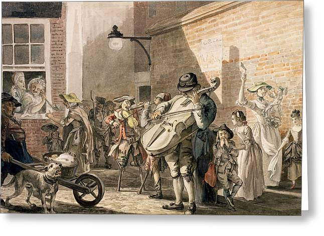 Entertainer Drawings Greeting Cards - Itinerant Musicians Playing In A Poor Greeting Card by Paul Sandby