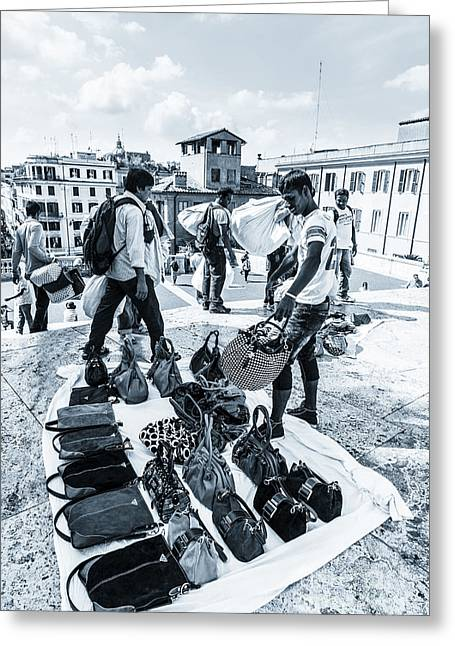 Criminal Enterprise Greeting Cards - Itinerant Street Sellers Selling Fake Designer Goods Laid Out On Greeting Card by Peter Noyce