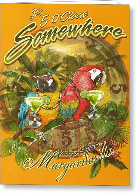Tropical Trees Greeting Cards - Its 5 OClock Somewhere Greeting Card by Claudette Armstrong