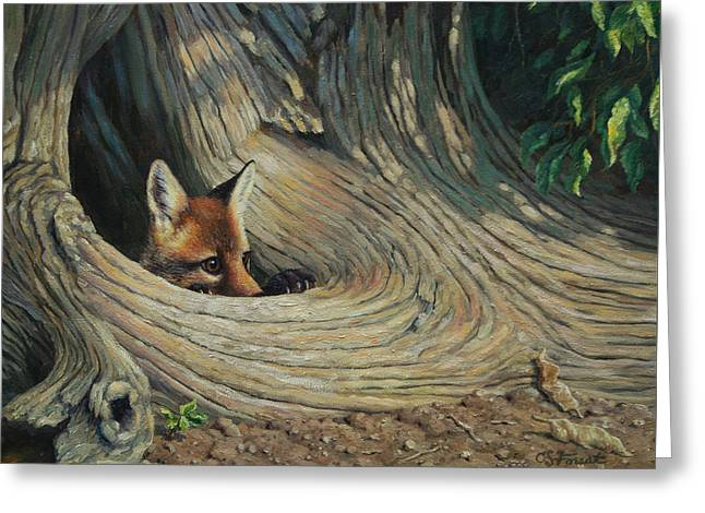 Wild Animals Paintings Greeting Cards - Fox - Its a Big World Out There Greeting Card by Crista Forest