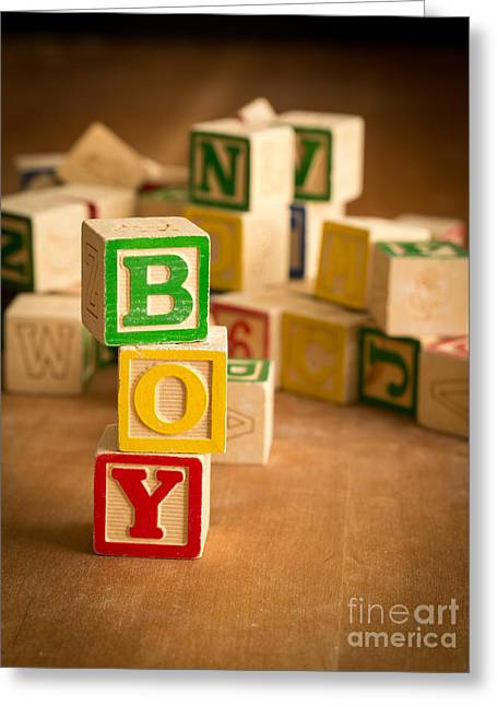 Wooden Alphabet Blocks Greeting Cards - Its A Boy Greeting Card by Edward Fielding