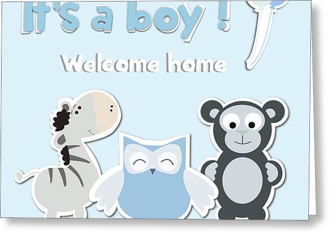 Little Boy Greeting Cards - Its a boy Greeting Card by Gina Dsgn
