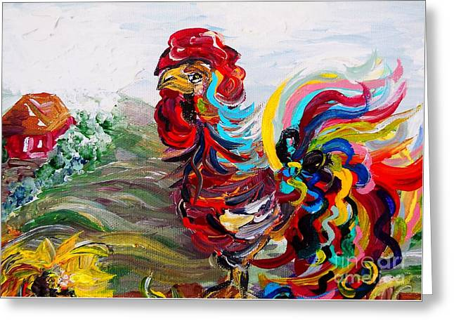Chicken On Eggs Greeting Cards - Its a Cockadoodle Do Morning Greeting Card by Eloise Schneider