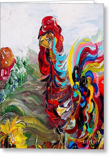 Bright Color Rooster Greeting Cards - Its a Cockadoodle Do Morning - Portrait Version Greeting Card by Eloise Schneider