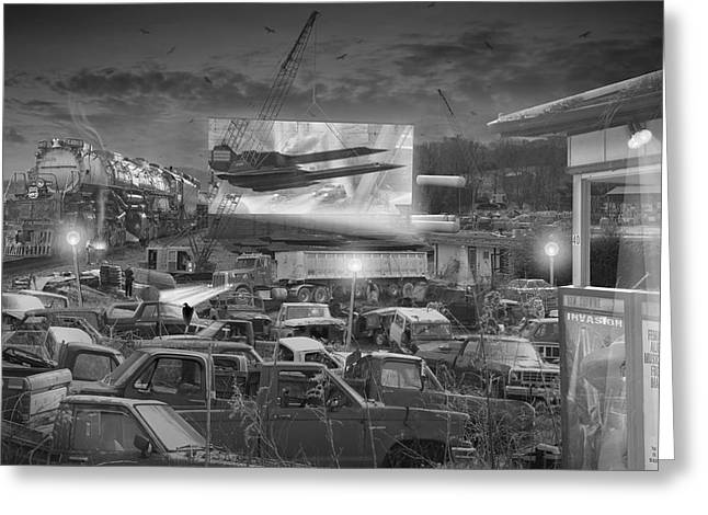 Drive In Movies Greeting Cards - Its A Disposable World  Greeting Card by Mike McGlothlen
