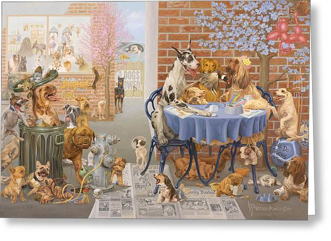 Puppies Paintings Greeting Cards - Its a Dogs World Greeting Card by Victor Powell