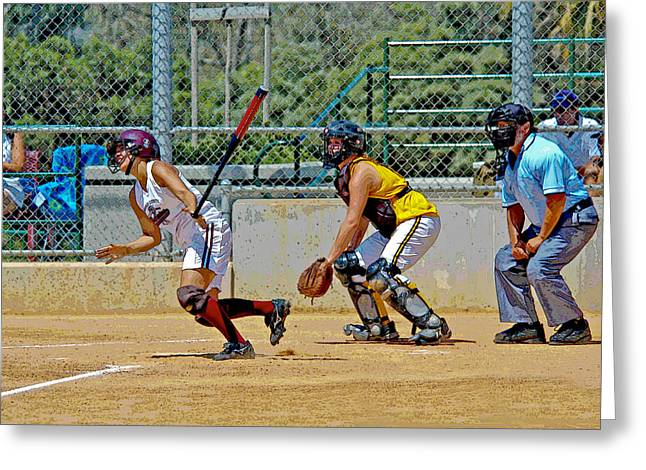 Softball Paintings Greeting Cards - Its a Double Greeting Card by Ken Guinn