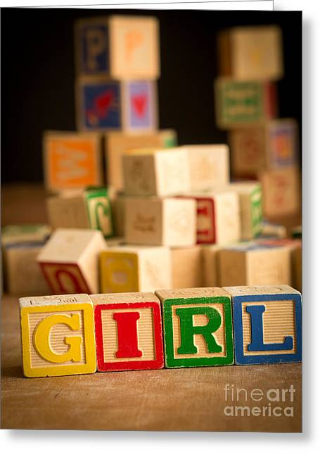 Announcement Greeting Cards - Its a Girl - Alphabet Blocks Greeting Card by Edward Fielding