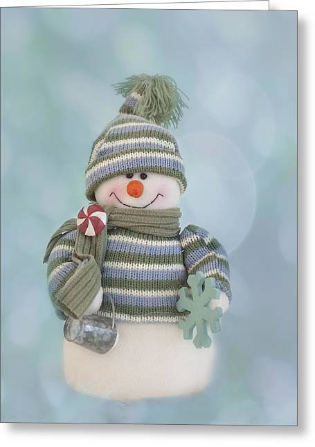 Snowman Christmas Card Greeting Cards - Its A Holly Jolly Christmas Greeting Card by Kim Hojnacki