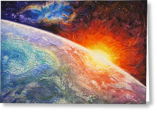 Outer Space Paintings Greeting Cards - Its A New Day Greeting Card by Susan Card