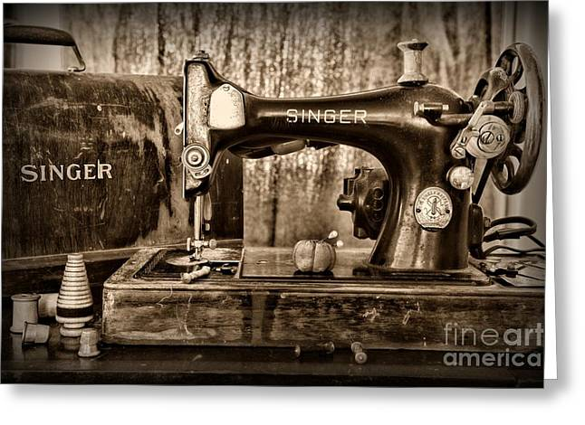 Sewing Hobby Greeting Cards - Its a Singer Sewing Machine Retro Style Greeting Card by Paul Ward