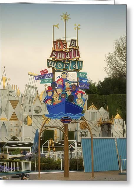 Toy Store Digital Art Greeting Cards - Its A small World Fantasyland Signage Disneyland Greeting Card by Thomas Woolworth