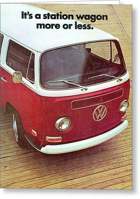 It's A Station Wagon More Or Less - Vw Camper Ad Greeting Card by Georgia Fowler