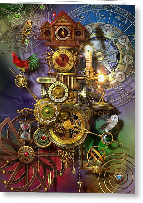 Cogs Greeting Cards - Its About Time Greeting Card by Ciro Marchetti