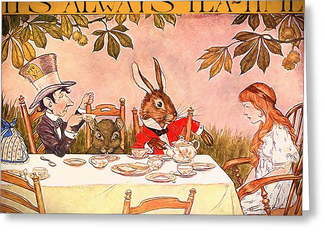 March Hare Mixed Media Greeting Cards - Its Always Tea-time Greeting Card by John K Woodruff