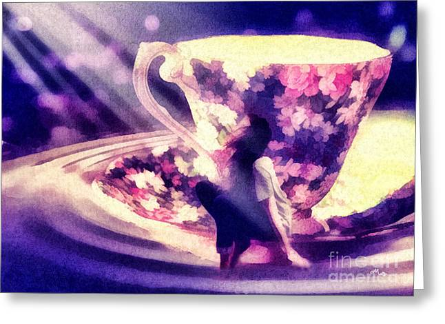 Lewis Carroll Greeting Cards - Its always Tea-time Greeting Card by Mo T