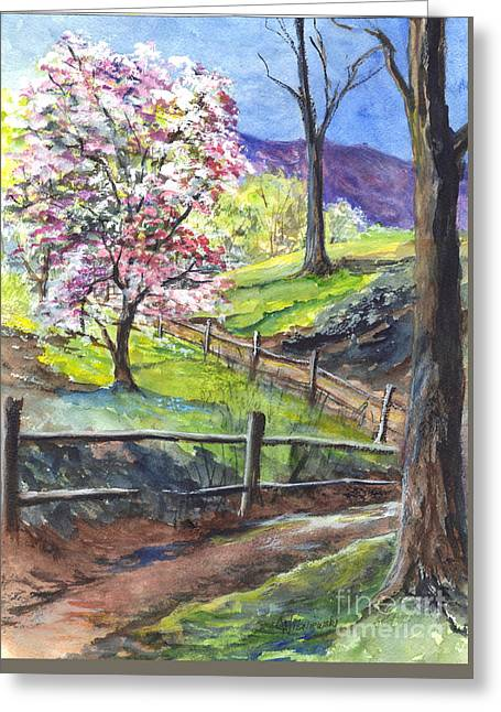 Spring Scenes Drawings Greeting Cards - Appleblossom Time Greeting Card by Carol Wisniewski
