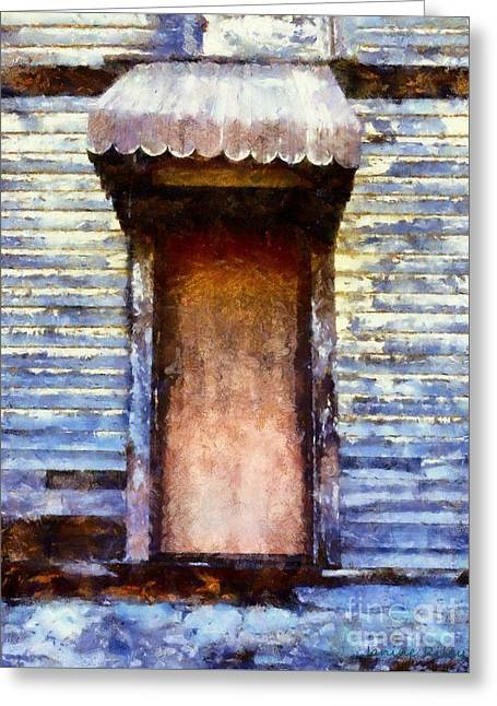 Worn In Greeting Cards - Its been so long - abandoned farm house door Greeting Card by Janine Riley