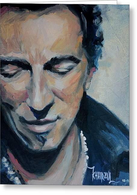 Bruce Springsteen Paintings Greeting Cards - Its Boss Time II - Bruce Springsteen Portrait Greeting Card by Khairzul MG