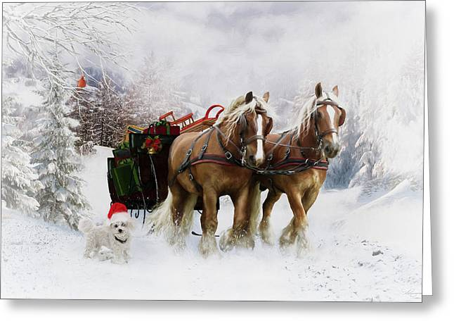 Pulling Greeting Cards - Its Christmas Greeting Card by Shanina Conway