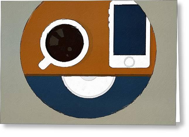 Coffee Drinking Digital Art Greeting Cards - Its Coffee OClock Greeting Card by Florian Rodarte