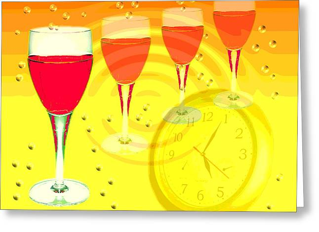 Glass Wall Greeting Cards - Its Five Oclock Somewhere Greeting Card by Joyce Dickens