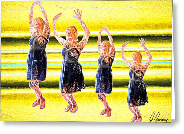 Bubbly Mixed Media Greeting Cards - Its Friday Dance Greeting Card by Joshua Zaring