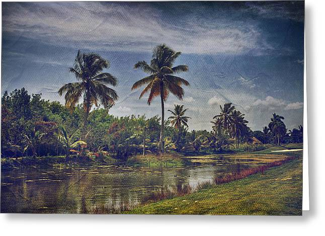 Tropical Golf Course Greeting Cards - Its Hanging in the Air Greeting Card by Laurie Search