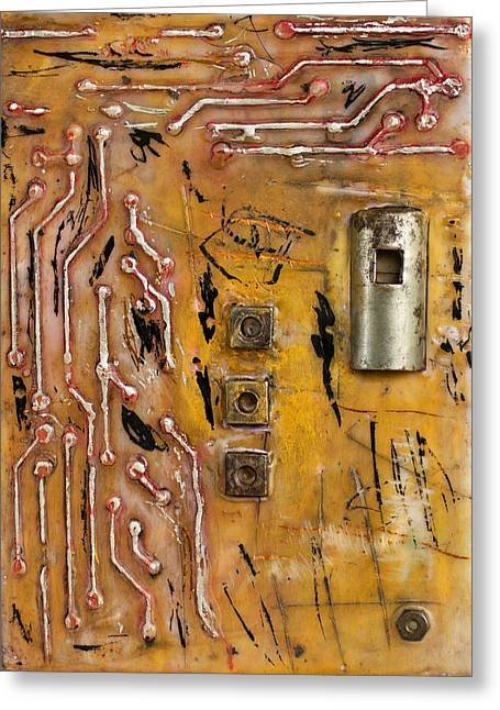 Electronics Mixed Media Greeting Cards - Logical Encaustic Greeting Card by Bellesouth Studio