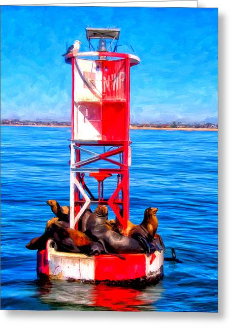 Sea Lions Paintings Greeting Cards - Its Lonely at the Top Greeting Card by Michael Pickett