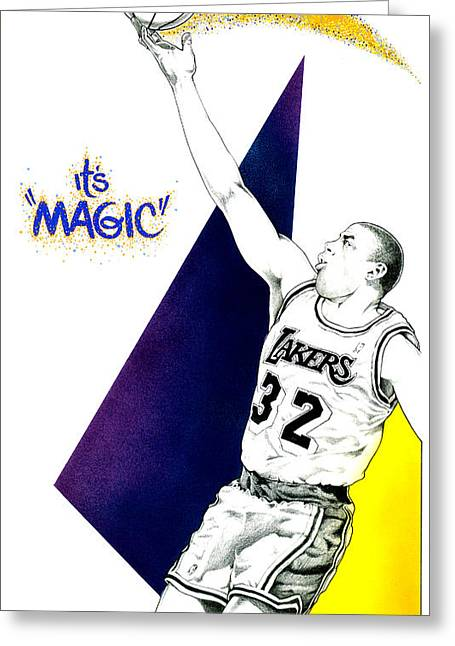 Lakers Mixed Media Greeting Cards - Its Magic Greeting Card by Ben De Soto