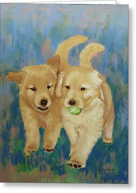 Puppies Pastels Greeting Cards - Its My Ball Greeting Card by Carolyn Molder